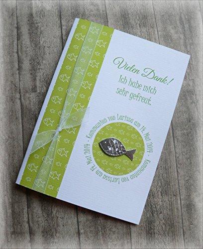 Danksagung Danksagungskarte Danke Kommunion Konfirmation Taufe Fisch silber grün apfelgrün kiwi hellgrün