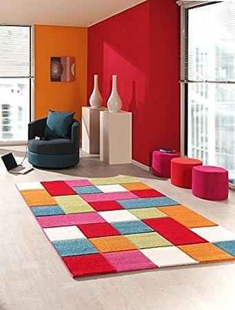 Amazonde Kinder Teppich Wohnzimmer Kinderzimmer Spielteppich Patchwork Regenbogen