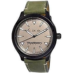 Triarrows Classic Herren-Armbanduhr 45mm Armband Leder Grün Gehäuse Vergoldetes Edelstahl Quarz TCN02