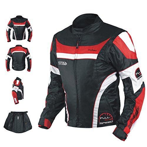 A-pro Blouson Oxford Nylon Homme Textile CE Protections Thermique Moto rouge S