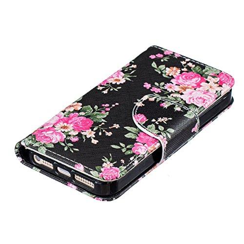 iPhone 6S Plus Schutzhülle,iPhone 6 Plus Lederhülle,JAWSEU Lanyard Schutzhülle für iPhone 6 Plus 5.5 Zoll,Elegante Retro Handyhülle Tasche Flip Cover Wallet Prägung Mädchen Katze Blumen Strap Muster B #Pink Blumen