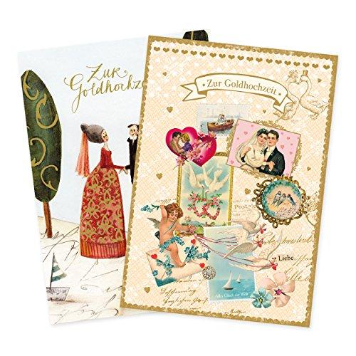 2er Set Glückwunschkarten zur goldenen Hochzeit