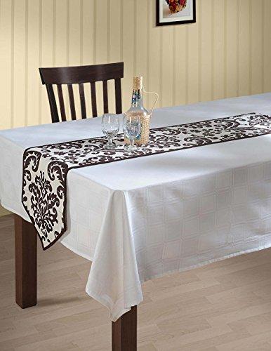 indischen gemustert Ente Baumwolle Tischläufer–33x 182,9cm–Weiß und Schokolade Braun Damast, baumwolle, dunkelbraun, 13X60 Inches