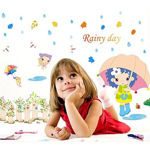 Wand-walking (Little Girl Walking in the rain Wand Aufkleber PVC Home Aufkleber House Vinyl Papier Dekoration Tapete Wohnzimmer Schlafzimmer Küche Kunst Bild DIY Wandmalereien Mädchen Jungen Baby Kinderzimmer Spielzimmer Decor)