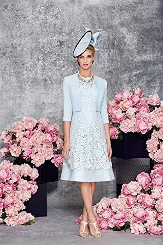 Dressvip Frauen 2 Stück hellblaue Spitze halbe Hülsen Brautmutter Kleider  Blau