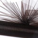 SERWOO (26m * 29cm) Rotolo Tulle Nero Poliestere Decorativo Bobina Decorazione Fai da Te per Sedie Tavolo Matrimonio Feste Halloween