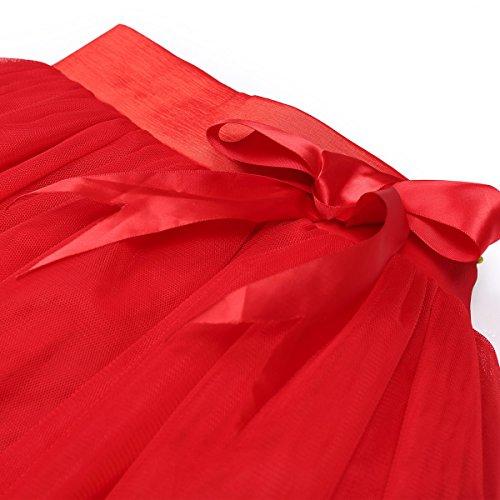 Femmes Lolita Tulle Wedding Party Jupes Petticoat Rouge - Rouge