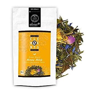 alveus® Morning Melody Premium Superior Organics Elements: Lose Teemischung mit grünem Tee, Pai Mu Tan, natürlichem Aroma, Ringelblume, blaue Kornblume, Rosenblüten, 100g Tüte