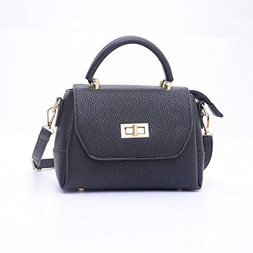 Mefly Neue Damen Handtasche Schulter Tasche All-Match Square Pu-Buchse Bright black