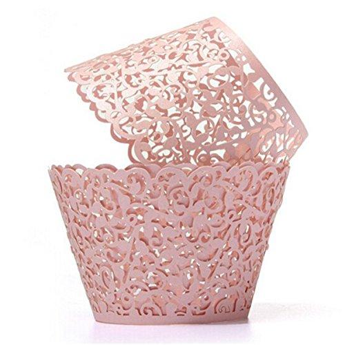 asergeschnittenes Cupcake Verpackungen für Hochzeit Geburtstag Party Baby Dusche Dekoration (Rosa) (Dekorationen Für Die Hochzeit Dusche)
