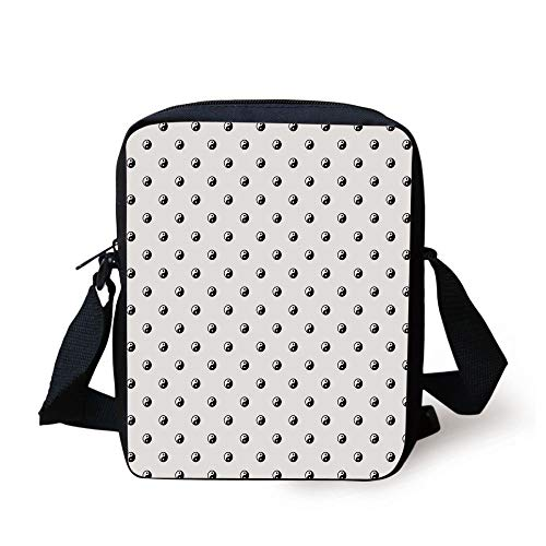 LULABE Ying Yang,Polka Dots Yin Yang Patterns Universal Duality between Good and Bad Concept,White Black Print Kids Crossbody Messenger Bag Purse