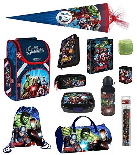 Familando Avengers Schulranzen-Set 15tlg. mit Dose/Flasche Sporttasche Federmappe Schultüte 85cm und Regenschutz Hulk Thor