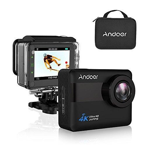 Andoer AN1 4K WiFi Caméra Sport 20MP Ultra HD LCD Tactile 2,3'' Action Cam, Caméra d' Action Étanche 30M, Caméscope Plongée Sous-Marine avec Grand Angle 170°, Kit D'accessoires + l'étui de Transpo