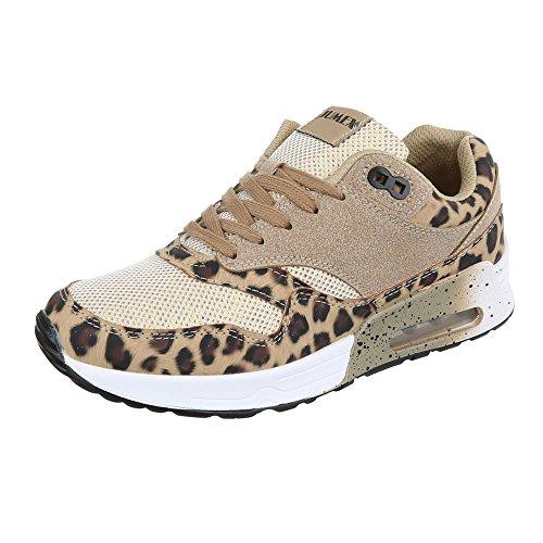Low-Top Sneaker Damenschuhe Low-Top Sneakers Schnürsenkel Ital-Design Freizeitschuhe Braun
