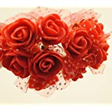 100x Fiorellini Rose ROSA Foam PE Con Organza Neve Bomboniera Fai Da te decorazione (ROSSO)