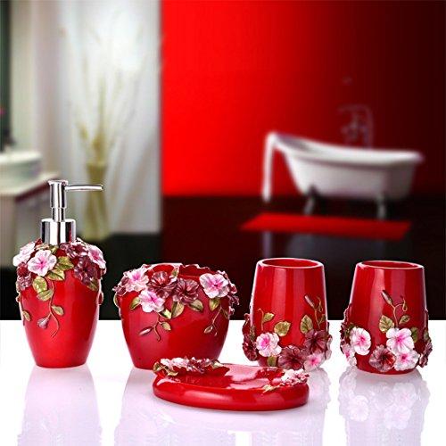Modernes Design Luxus Bad Accessoires Set 5x Seifenspender/Zahnbürstenhalter/Zahnputzbecher/Seifenschale rot