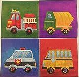 20 Papierservietten * FAHRZEUGE * für Kindergeburtstag oder Mottoparty // mit Feuerwehr, Kipper, Polizei und Bus // Servietten NApkins
