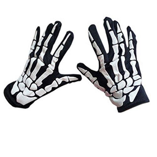 INLLADDY Costume Skelett Handschuhe Horror Cosplay Halloween Kostüm Party Weiß Medium