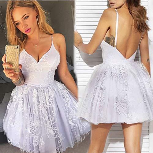 TianranRT Frauen Kleid Rock,Ärmellose Feste Mesh Stickerei Kleid V-Ausschnitt Sexy Ärmellos Für Mode Frauen,Lila(M) -