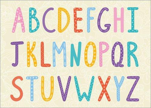 Posterlounge Acrylglasbild 40 x 30 cm: Bunte ABC Buchstaben von Typobox/Editors Choice - Wandbild, Acryl Glasbild, Druck auf Acryl Glas Bild (Erste-klasse-wandhalterung)