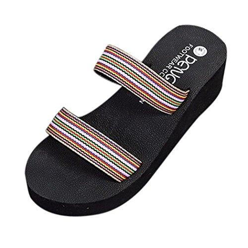 SOMESUN Sandali Pantofole da Donna Ciabatte da Bagno Estive Bohemia da Spiaggia con Plateau E Ciabatte da Donna Marrone
