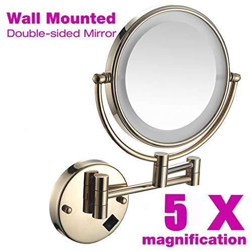 Espejo de Maquillaje Pared con luz LED, 8 Pulgadas 5X Aumento Doble Cara giratoria de 360 °, Fácil...