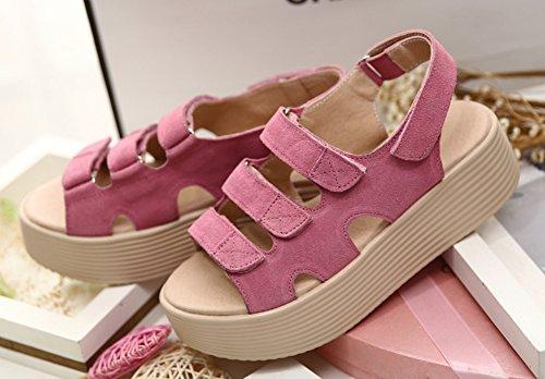 Wealsex sandalen damen Klettverschluss sommerSchuhe Pink