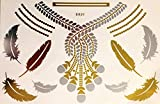 Wunderschönes Einmal Flash Klebe Metallic Tattoo Gold Silber für Arme, Beine, Finger, Körper ideal für Strand Disco Party Hochzeit Feiern Fasching E20