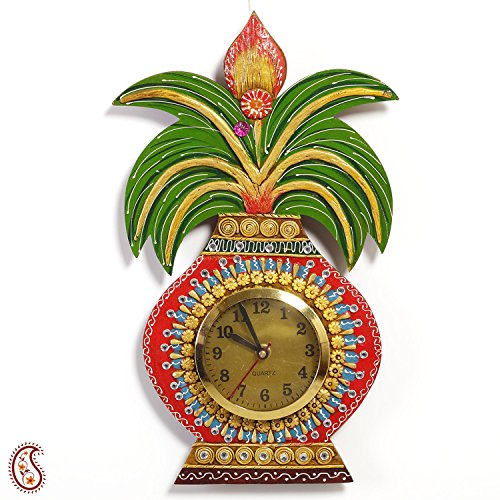 Kalash Wall Clock in Rajastani clay and wood craft  available at amazon for Rs.999