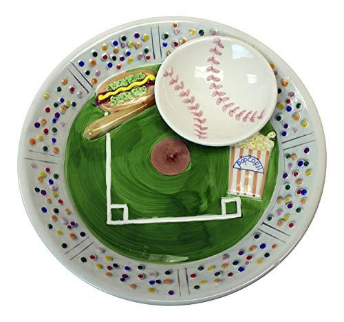 Baseball Stadium Ceramic Chip Dip Decorative Bowl Serving Platter by Orange Onions