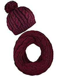 a91b2de5f0f Red Knit Beanie Women Hat and Scarf Set Red Neck Scarf Knitted Hat Scarf  Wine
