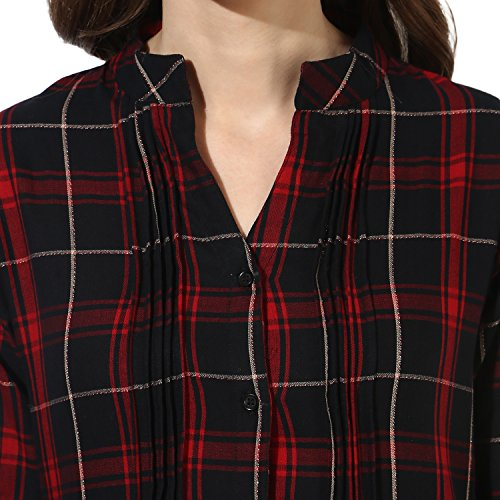 One Femme Women's Plaid Check Print Tunic (OFTNT012_Multicolor 23_Small)