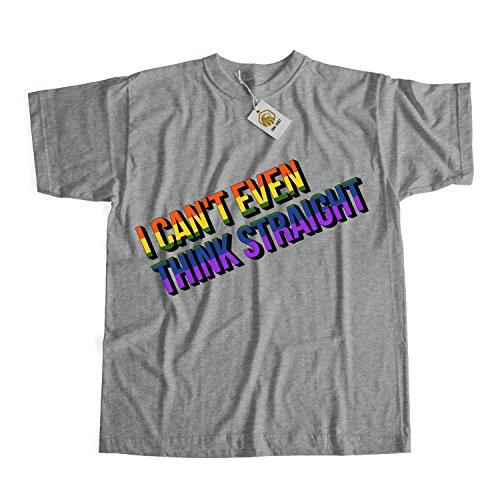 Gay Pride T-Shirt I Can't Even Think Straight Lesbian LGBTQ Rainbow Men Women Unisex Tee Tops Grau