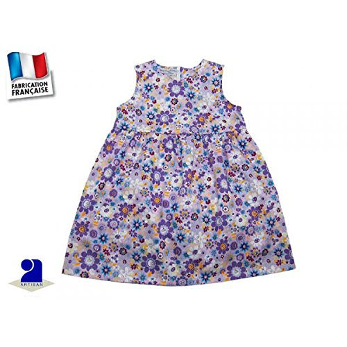 Poussin bleu - Robe fille sans manches mauve, imprimé fleurs Couleur - Multicolore, Taille - 86 cm 2 ans