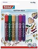 Tesa Glitter Déco Pack de 6 Styos Colles Paillettes Classique Rouge/Vert/Jaune/Gris/Rose/Violet