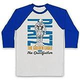 Inspired Apparel Inspire par Tom Platz The Golden Eagle The Quadfather Bodybuilder Officieux 3/4 Manches Retro T-Shirt de Base-Ball, Blanc & Bleu, Large
