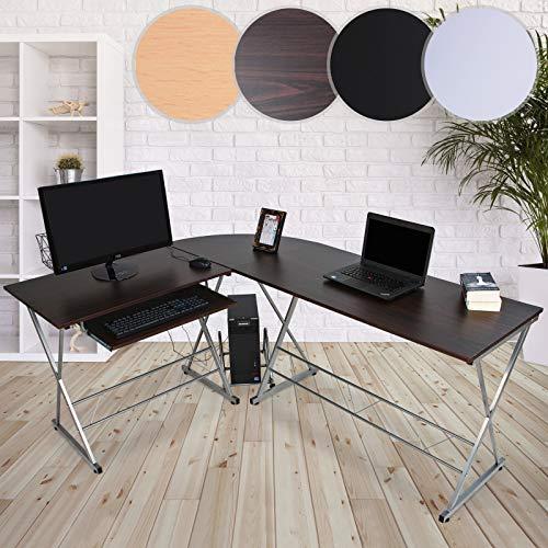 MIADOMODO Computertisch   L-Form, 170x136x75cm, ausfahrbare Tastaturablage, PC Ablage, Farbwahl   Winkelschreibtisch, Eckschreibtisch, Bürotisch, Arbeitstisch, Laptop PC Studie Tisch - Schreibtisch Tastaturablage