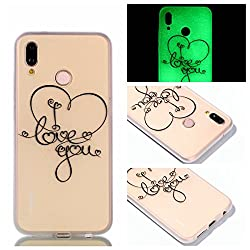 Huawei P20 Lite Hülle Silikon, Huawei P20 Lite Hülle Handyhülle , Carols Niedliche Cartoon Malerei Design Ultra Slim Dünn Silikon Luminous Silikon Soft Shell Tpu Für Huawei P20 Lite, Premium Etui Handy-tasche Backcover Transparent Phone Bumper Schale Silicone Für Huawei P20 Lite - I Love You