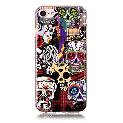 Custodia iPhone 7,iPhone 7 Cover,SainCat Custodia in Morbida TPU Protettiva Cover per iPhone 7,Creative Design Transparent Silicone Case Ultra Slim Sottile Morbida Transparent TPU Gel Cover Shock-Abso Skull fiore