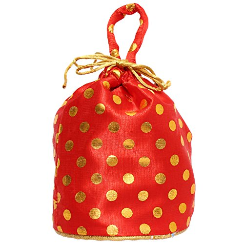 Bagaholics Ethnic Clutch Silk Potli Batwa Pouch Bag with Metal Beadwork (Red)  available at amazon for Rs.125