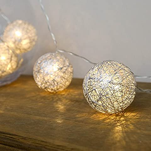 Cotton Ball Fairy Lights - 10 Warm White LEDs - Plug-In - 3m by Festive Lights (Silver)