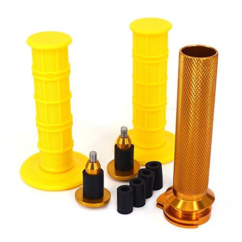 Twister Gasrohr Lenkergriffe Bar Cap Endstopfen 7/8 Zoll 22 mm für Suzuki RMZ250 04-06 RMZ450 05-06 RMZ450 08-17 RMX450Z 10-16 250SB 04-06 YZ250F YZ450F Dirt Bike Gold ()