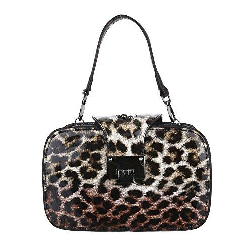 Damen Tasche, Schultertasche, Kleine Handtasche, Kunstleder, TA156052B Braun  Beige Kunstleder Damen Tasche