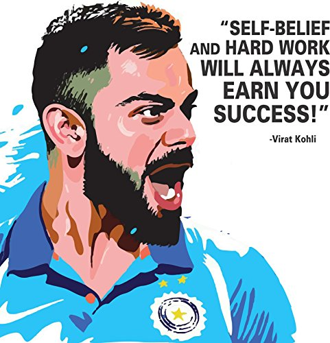 Canvas Wall Painting / Virat Kohli Quote Printed Unframed Modern Canvas Wall Art Painting by 100yellow- 12 x 12 Inch  available at amazon for Rs.269