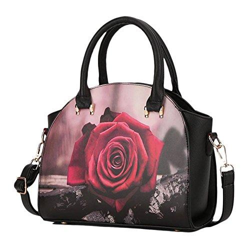 Donna Sacchetto Di Grafica stampa Spalla Casuale Della Borsa Messenger Bag Rose Rose