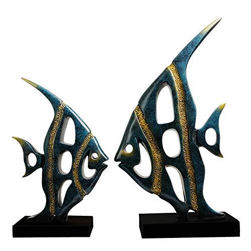 Animal Resin Skulptur Simple Modern Abstract Fish Art Craft Bedroom Living Room TV Cabinet Desktop Ornaments,Blue