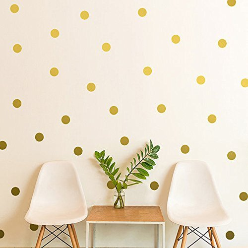 Ufengke® 54 pezzi pois cerchi adesivi murali, camera dei bambini vivai adesivi da parete removibili stickers murali decorazione murale d'oro
