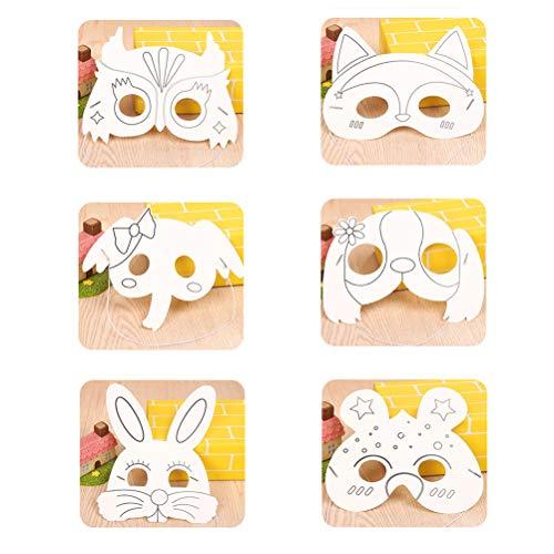 inder Tier Maske Handwerk Masken Cosplay Spielzeug handgemachte DIY DIY (Hund + Fuchs + Eule + Biene + Elefant + Kaninchen, 4 stücke für jedes) ()