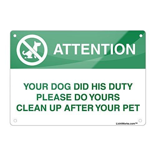 Dog Poop Aluminium Metall Zeichen, Ihren Hund DID seine Pflicht Bitte tun Yours, 45,7x 30,5cm Zoll entworfen, wennuna -