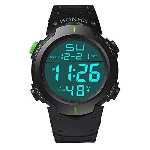 Orologio da uomo di sport Qbd multifunzionale militare impermeabile semplice design grandi numeri digitale LCD Display orologio casual verde